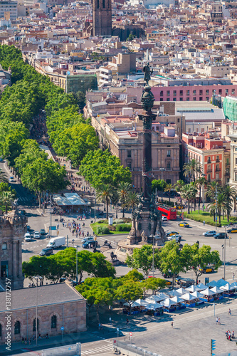 Tuinposter Barcelona La Rambla in Barcelona against the backdrop of the city panorama, Spain. Aerial view
