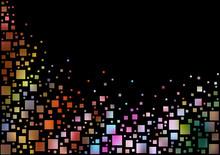Colorful Pixels Background Over Black - Background Illustration, Vector