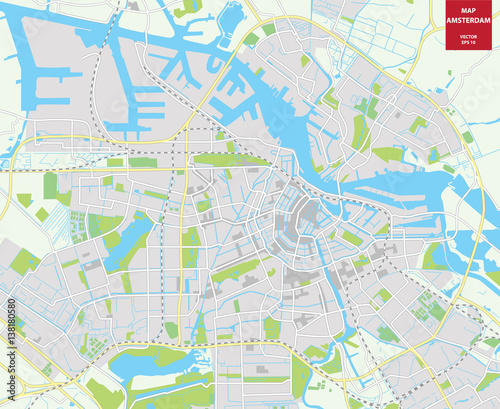 Vector color map of Amsterdam, Netherlands. City Plan of ... on map of keukenhof, map of phoenix, map of holland, map of europe, map of randstad, map of barcelona, map of pauls valley, map of rome, map of amster, map of south west western australia, map of switzerland, map of berlin, map of georgia international horse park, map of brussels, map of belgium, map of jamaica, map of netherlands, map of germany, map of antipodes,