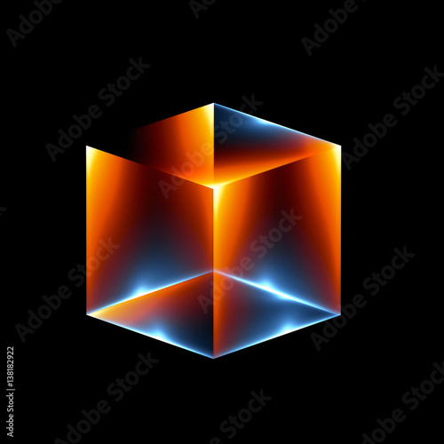 fototapeta na lodówkę 3d abstract modern technology. Box scheme. Neural network. Glass blocks. Web construction. Industrial cube objects. Hardware quantum form. Smart build. Intersect composition. Grid core. Glow tech