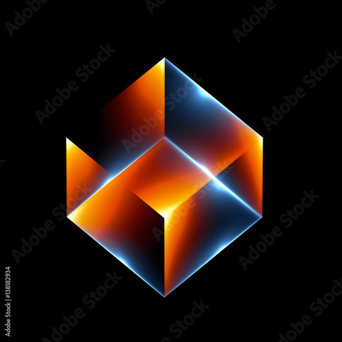 fototapeta na ścianę 3d abstract modern technology. Box scheme. Neural network. Glass blocks. Web construction. Industrial cube objects. Hardware quantum form. Smart build. Intersect composition. Grid core. Glow tech