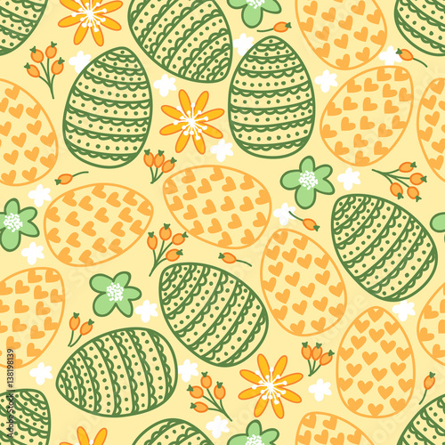Cotton fabric Cute seamless pattern with eggs, flowers and hearts. Happy Easter. Holiday background.