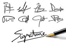 Concept De L'engagement Avec Différents Exemples De Signatures Fictives, Pour Présenter Des Documents Administratifs Ou Des Contrats
