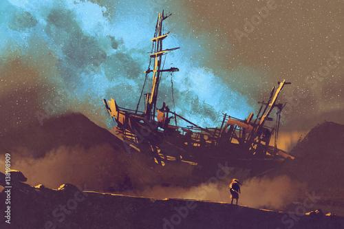 night scene of abandoned ship on the desert with stary sky,illustration painting Wallpaper Mural