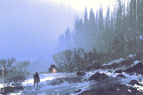 winter landscape with snow storm and a man walking to the wooden house,illustration painting