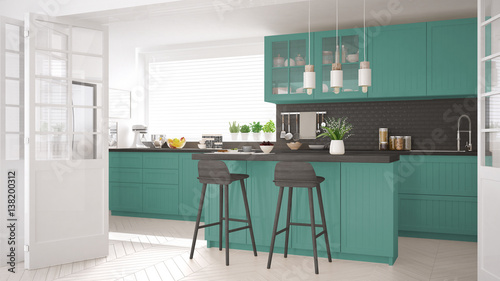 Fototapeta Scandinavian classic kitchen with wooden and turquoise details, minimalistic interior design obraz na płótnie