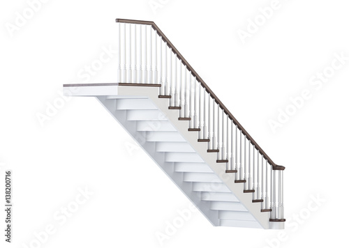 Poster Trappen Stairs on white background. 3D rendering.