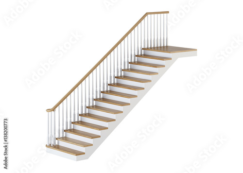 Aluminium Prints Stairs Stairs on white background. 3D rendering.