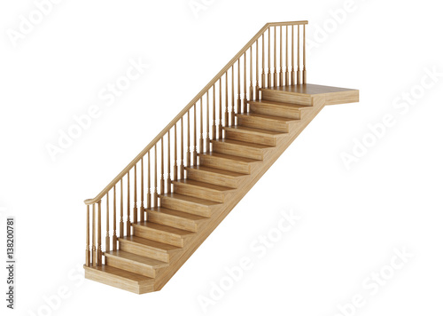 Photo Stands Stairs Stairs on white background. 3D rendering.