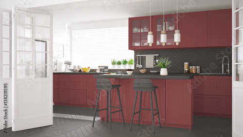 Fototapeta Scandinavian classic kitchen with wooden and red details, minimalistic interior design obraz na płótnie