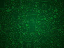 Green  Background For Patricks Day With Beer Mug, Horseshoe, Hat, Pipe And Shamrocks, Vector