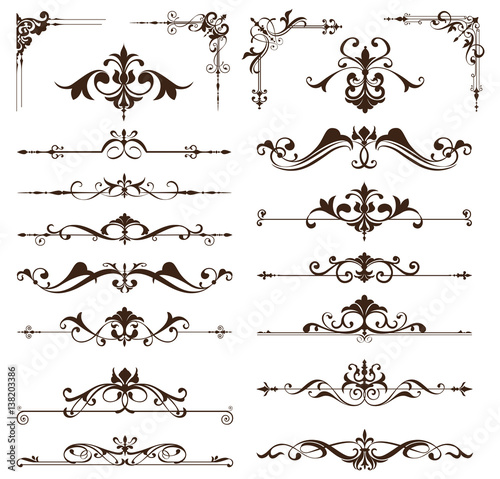 Art Deco Design Elements Of Vintage Ornaments And Borders