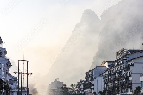 Obraz na plátně Yangshuo cityscape skyline with Karst mountains in Guangxi Province, China
