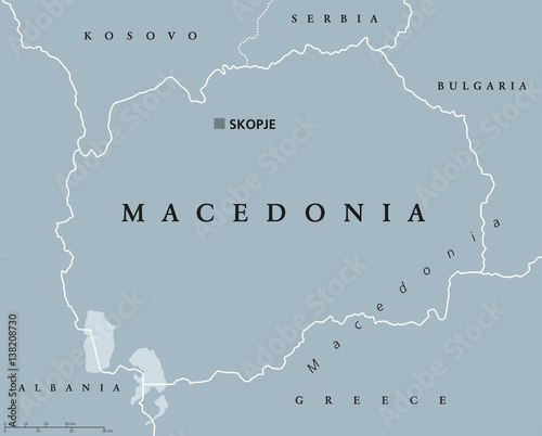 Canvas Print Macedonia political map with capital Skopje and neighbor countries