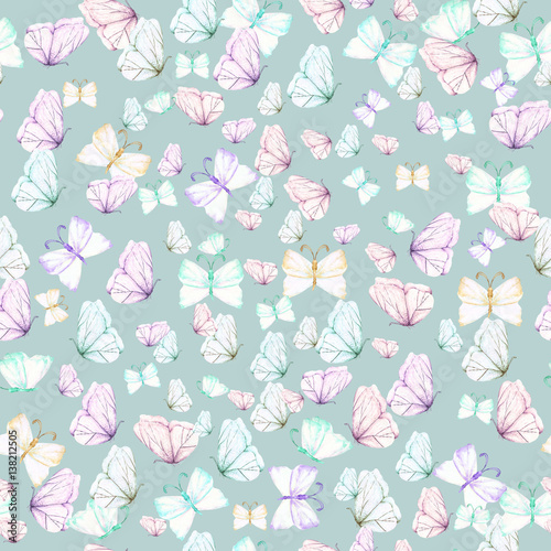 Seamless pattern with watercolor tender butterflies, hand drawn on a blue background