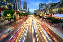 Busy Street At Dusk, Full Of Car Light Streaks
