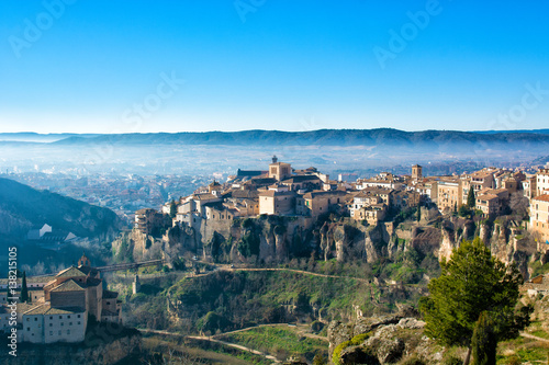 View of old town of Cuenca with hanging houses, Spain