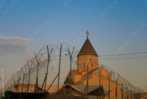Armenian church behind barbed wire, Baghdad, Iraq