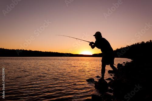 Fotografie, Obraz  Fisherman at Sunset