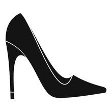 High Heel Shoe Icon, Simple Style