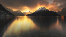 Sunset At Lake With Mountains