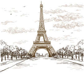 Fototapeta Landscape with Eiffel tower in brown colors on white background