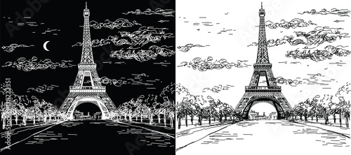 Night and day landscape with Eiffel tower in black and white colors