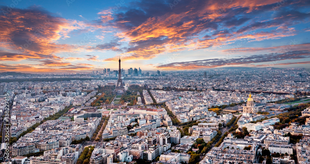 Fototapety, obrazy: Aerial Paris panorama in late autumn from Montparnasse Tower at sunset. Eiffel Tower in the distance and financial district.