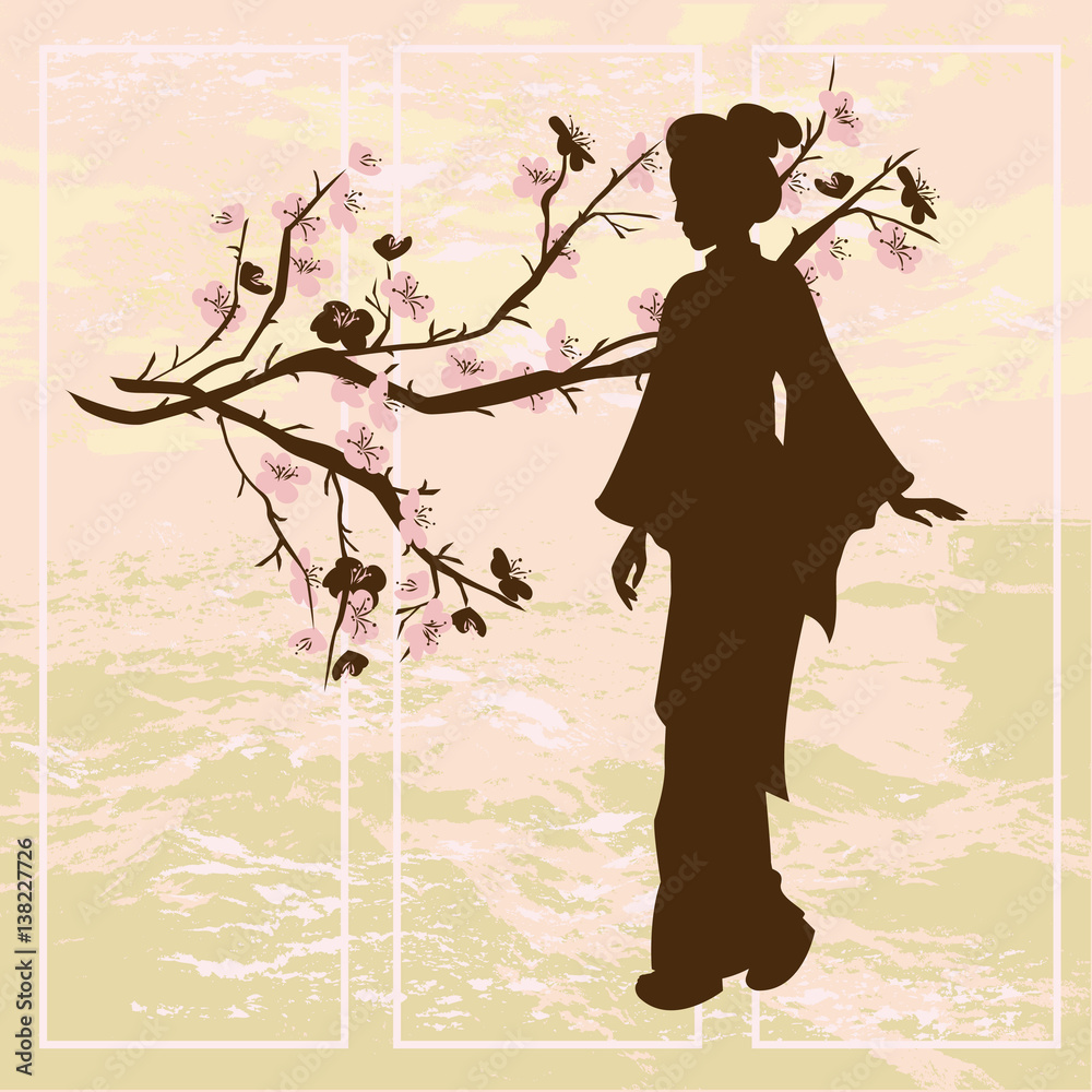 Asian woman. Oriental style painting. Hand drawing illustration with silhouette of a geisha and Chinese Plum tree.