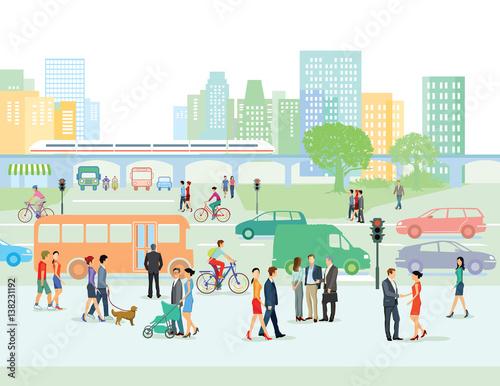 Fotografía  Städtische Straße mit Fußgänger und Autos