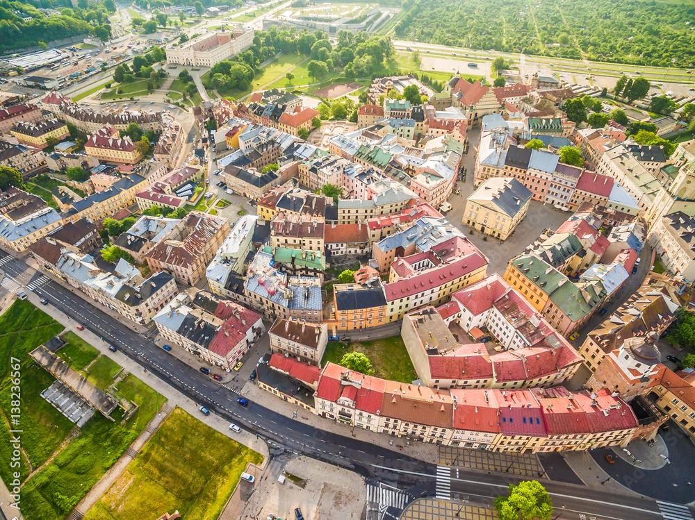 Fototapeta Lublin - panorama starego miasta z lotu ptaka. Atrakcje turystyczne lublina - obraz na płótnie
