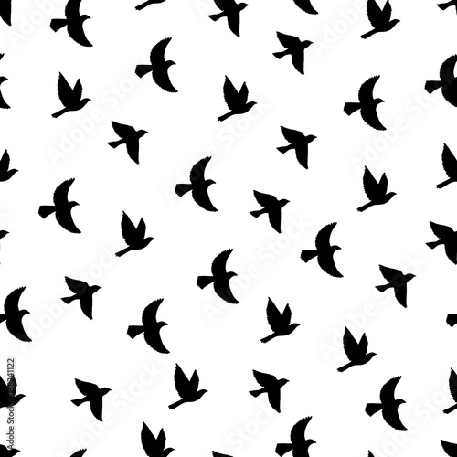 Flying birds seamless pattern. Poster