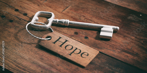 Fototapeta Old key with tag hope on a wooden background. 3d illustration