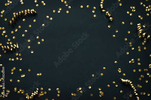 golden confetti border frame on black paper background mardi gras new year holiday decoration