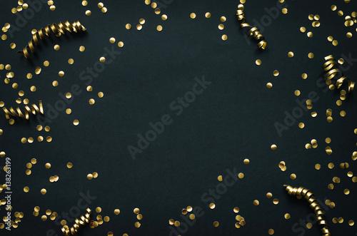 golden confetti border frame on black paper background mardi gras new year holiday decoration