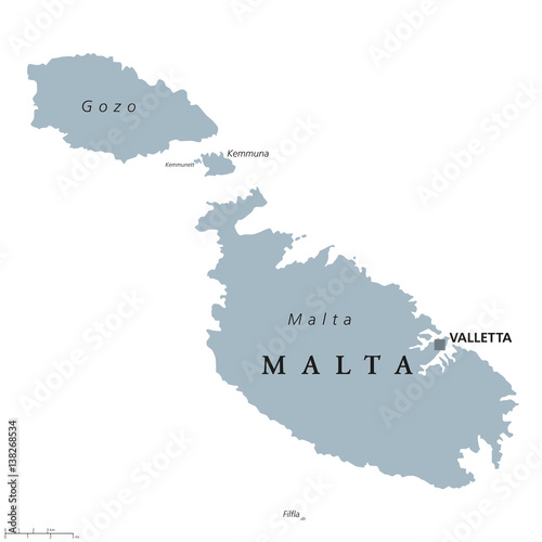 Mediterranean Political Map.Malta Political Map With Capital Valletta Republic And Southern