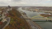 Aerial Shot Of Bridge, Mount Washington, And Heinz Field In Pittsburgh