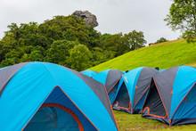 Colorful Tents Camping At Doi Samer Dao , Sri Nan National Park, Nan Province, Thailand