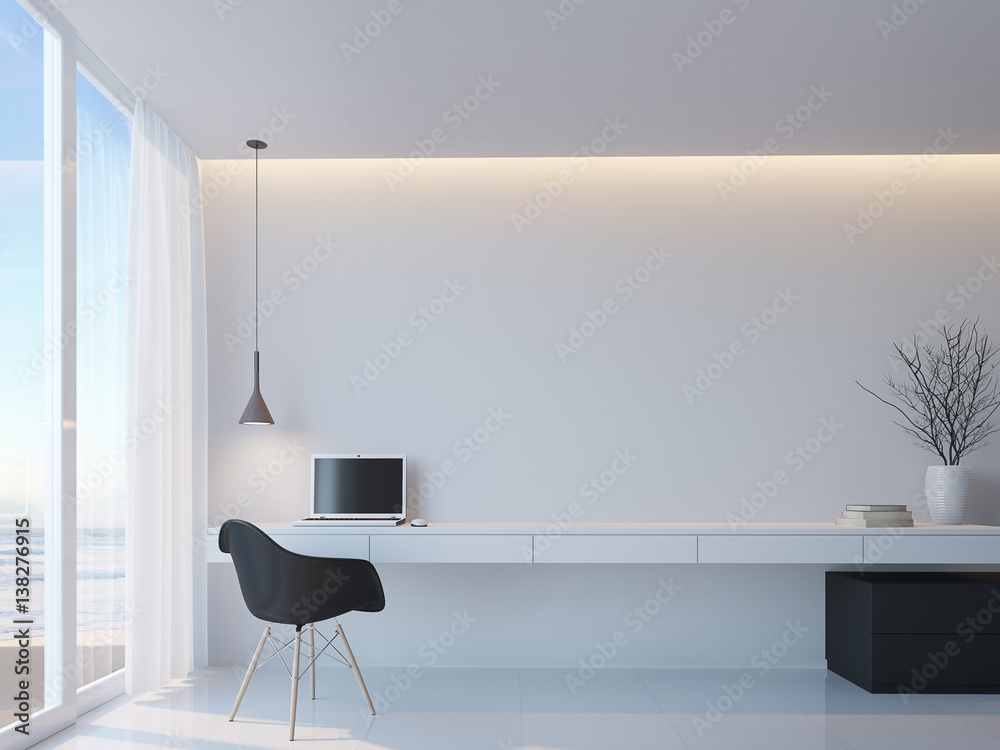 Fototapety, obrazy: Modern black and white working room with sea view minimalist style 3d rendering image,Decorate wall with hidden warm light,There are large windows Looking to beautiful sea view