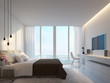 Modern white bedroom with sea view 3d rendering image,Decorate wall with hidden warm light,white furniture,There are large windows Looking to beautiful sea view
