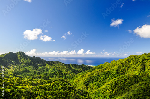 Stunning panorama view from a place called The Needle on Rarotonga, the main island of the Cook Islands in the South Pacific Tapéta, Fotótapéta