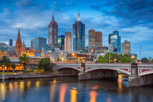 In de dag Australië City of Melbourne. Cityscape image of Melbourne, Australia during twilight blue hour.