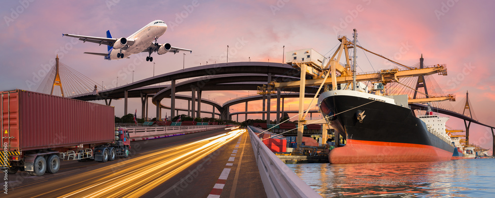 Fototapeta Panorama transport and logistic concept by truck boat plane for logistic Import export background