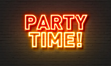 Party Time Neon Sign On Brick Wall Background.