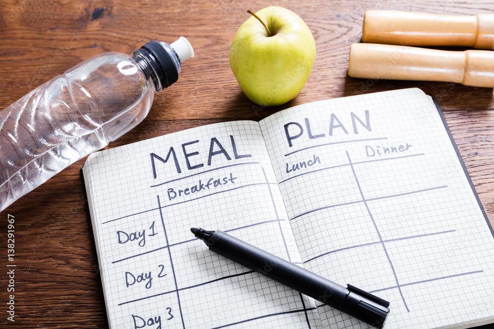 Fototapety, obrazy: Meal Plan Concept On Wooden Desk