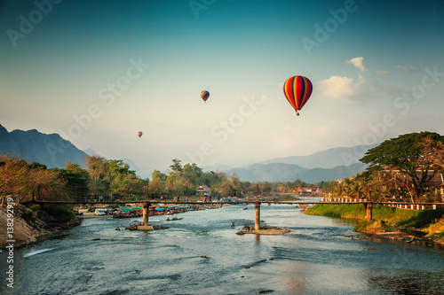 Beautiful views of the mountains and the balloon tour, landmarks travels Vang Vieng, Laos Wallpaper Mural