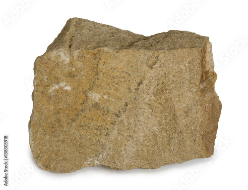 Sandstone mineral stone  is composed of quartz and/or feldspar. Sandstone (arenite) is a clastic sedimentary rock composed mainly of sand-sized minerals or rock grains. Isolated on white background. Wall mural