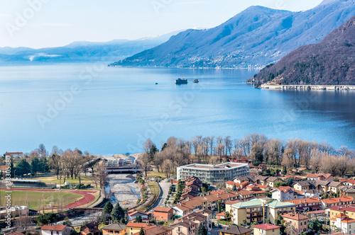 Valokuva Landscape of lake Maggiore with Maccagno, Luino, Italy