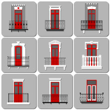 Vector Set Of Flat Vintage Decorative Forged Balconies With Red Doors On Gray Background In London Style.