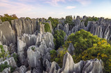 Fototapeta Kamienie - Beautiful sunset in Stone Forest in Shilin, Kunming, Yunnan province, China